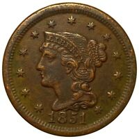 1851 BRAIDED HAIR LARGE CENT EXCELLENT DEFINITION 1C COPPER