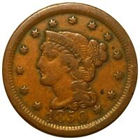 1850 BRAIDED HAIR LARGE CENT HARD TO FIND 1C COPPER COLLECTI