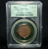1851 BRAIDED HAIR HALF CENT  PCGS MINT STATE 64  1/2C CHOICE UNCIRCULATED BU TRUSTED