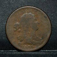 1806 1/2 DRAPED BUST HALF CENT  VG DETAILS  SMALL 6 NO STEMS  TRUSTED