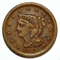 1851 BRAIDED HAIR HALF-CENT  EXTRA FINE  EXTRA FINE  1/2C  NOW  FTRUSTED