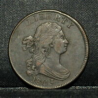 1805 DRAPED BUST HALF-CENT  EXTRA FINE  EXTRA FINE DET  1/2C LARGE 5 W/ STEMS TRUSTED