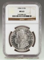 1904-O $1 SILVER MORGAN DOLLAR GRADED BY NGC AS MINT STATE 63