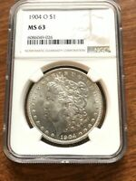 1904-O MORGAN DOLLAR NGC MINT STATE 63 SILVER DOLLAR NEW ORLEANS