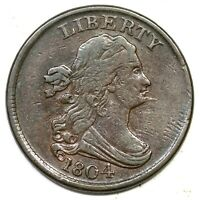 1804 C-6 R-2 SPIKED CHIN 9.0 DRAPED BUST HALF CENT COIN 1/2C