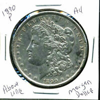 1890 P AU MORGAN DOLLAR 90 SILVER COIN ABOUT UNCIRCULATED COMBINE SHIP$1 C1284