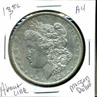 1886 P AU MORGAN DOLLAR 90 SILVER COIN ABOUT UNCIRCULATED COMBINE SHIP$1 C1302