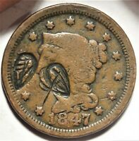 UNUSUAL ORNATE COUNTERSTAMPED 1847 BRAIDED HAIR LARGE CENT 1C COIN