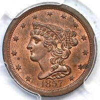 1857 C-1 R-2 PCGS MINT STATE 64 RB BRAIDED HAIR HALF CENT COIN 1/2C