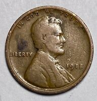 1918 LINCOLN - WHEAT EARS REVERSE 1 CENT CIRCULATED COIN  2888