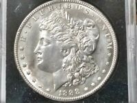 1888 S MORGAN SILVER DOLLAR GEM BU MOSTLY WHITE SOME TONING FULL BREAST FEATHERS