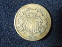 1869 TWO CENT PIECE 2C F/VF DETAILS GOOD US COPPER COIN OLD TIME CLEANING  C-29B
