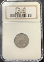 1874 5C SHIELD NICKEL NGC AU-58 -  NICKEL
