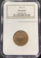 1865 2C TWO CENT PIECE NGC MINT STATE 64 BN - SUPERB QUALITY