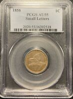 1858 SMALL LETTERS 1C FLYING EAGLE CENT PCGS AU-55