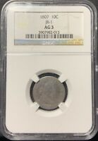 1807 10C DRAPED BUST DIME JR-1 NGC AG-3