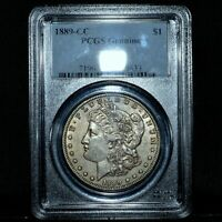 1889-CC MORGAN SILVER DOLLAR  PCGS AU DETAILS  $1 ALMOST UNCIRCULATEDTRUSTED