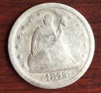 1875 S SEATED LIBERTY 20 CENT PIECE TWENTY CENTS USA SILVER