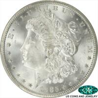 1885-CC MORGAN SILVER DOLLAR PCGS AND CAC MINT STATE 66 FROSTY WHITE PQ COIN