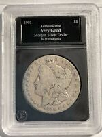 1901-S MORGAN SILVER DOLLAR 12511 VG CLEANED IN  DISPLAY HOLDER