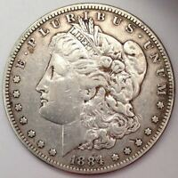 1884-S MORGAN SILVER DOLLAR -  CRUSTY CIRCULATED BETTER DATE/MINT - FREE S&H