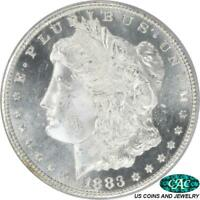 1883-CC MORGAN SILVER DOLLAR PCGS AND CAC MINT STATE 65DMPL  GEM BRILLIANT PQ