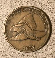 1857 FLYING EAGLE CENT SNOW 9 50 CLASHED OBVERSE VARIETY