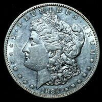1884-S $1 MORGAN SILVER DOLLAR  AU ALMOST UNC DETAILS  CLEANED  TRUSTED
