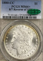 1880-CC 8/7 REVERSE OF 78, MORGAN SILVER DOLLAR, PCGS MINT STATE 66, CAC, ONLY 3 FINER