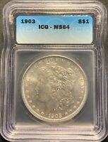 1903 $1 MORGAN SILVER DOLLAR ICG MINT STATE 64