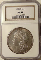 1886-S MORGAN SILVER DOLLAR - NGC MINT STATE 62 - BETTER DATE -  PRETTY BU COIN