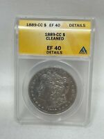 1889 CC US SILVER MORGAN DOLLAR KEY DATE ANACS EXTRA FINE  40 DETAILS CLEANED