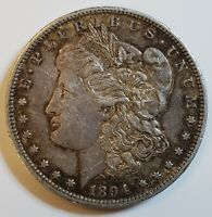 1894-P MORGAN SILVER DOLLAR $1 IN EXTRA FINE /AU CONDITION KEY DATE