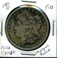 1891 O F MORGAN DOLLAR  FINE 90 SILVER COIN U.S  COMBINE SHIP $1 WC950