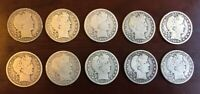 LOT OF TEN  10  USA 50 CENT SILVER BARBER HALF DOLLAR COINS