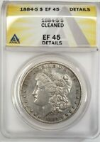 1884 S MORGAN SILVER DOLLAR  EF 45 DETAILS,  CLEANED