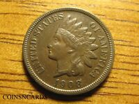 1908 S INDIAN HEAD CENT ATTRACTIVELY TONED SEMI KEY ABOUT UN