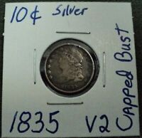1835 CAPPED BUST DIME , SILVER COIN