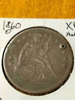 1860 O LIBERTY SEATED $1 DOLLAR NO MOTTO  XF DETAILS HOLED C