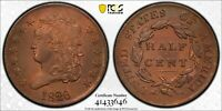 1826 CLASSIC HEAD HALF CENT   PCGS AU DETAILS WONDERFUL