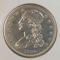 1834 CAPPED BUST QUARTER DOLLAR BU CLEANED. VARIETY TWO NO M