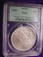 1882 MORGAN DOLLAR BRIGHT WHITE KEY DATE PCGS CERTIFIED MS--62  19