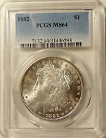 1882-P MORGAN SILVER DOLLAR - PCGS MINT STATE 64 -  PRETTY CHOICE BU COIN