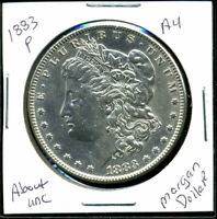 1883 P AU MORGAN DOLLAR 90 SILVER COIN ABOUT UNCIRCULATED COMBINE SHIP$1WC1199