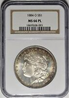 1884-O $1 NGC MINT STATE 66 PL PROOF LIKE UNC MORGAN SILVER DOLLAR TONING TONED COIN