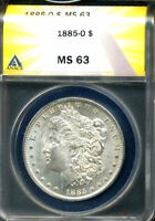 1885 O MINT STATE 63 MORGAN DOLLAR 90 SILVER UNCIRUCLATED CERTIFIED U.S $1 COIN  3468