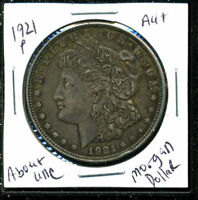 1921 P AU MORGAN DOLLAR 90SILVER COIN ABOUT UNCIRCULATED COMBINE SHIP$1 WC1618