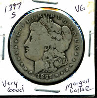 1897 S VG MORGAN DOLLAR 90 SILVER  GOOD U.S.A COMBINE SHIP$1 COIN CC480