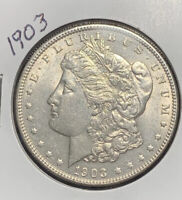 1903 MORGAN SILVER DOLLAR, AU/BU