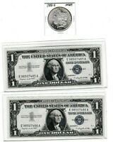 1881-S $1 MORGAN SILVER $ & 1957A$1 SILVER CERTIFICATE SEQUENTIAL PAIR, LOT